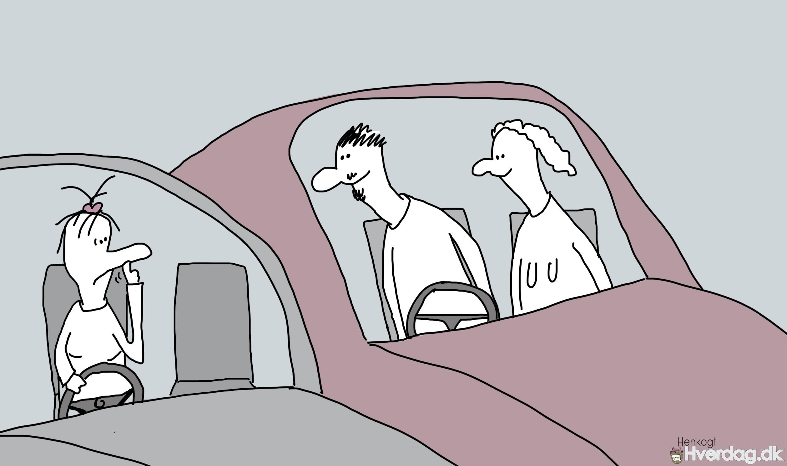 Piller næse i bil