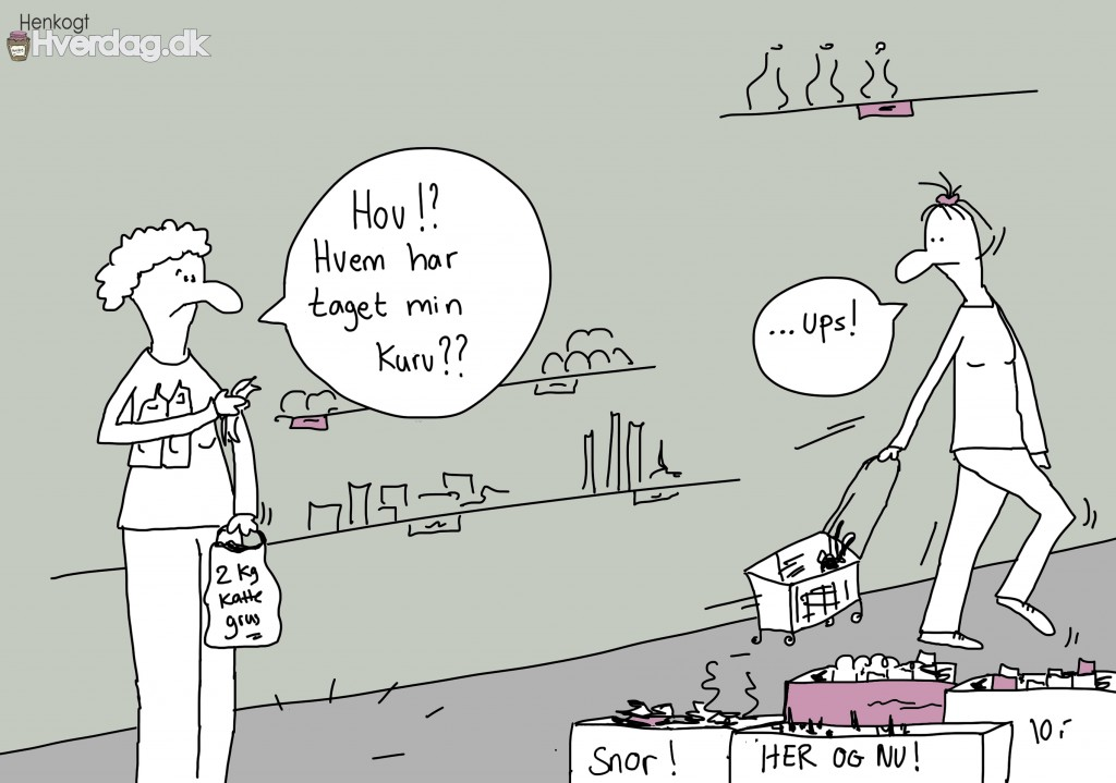 Stjæler kurv i supermarked